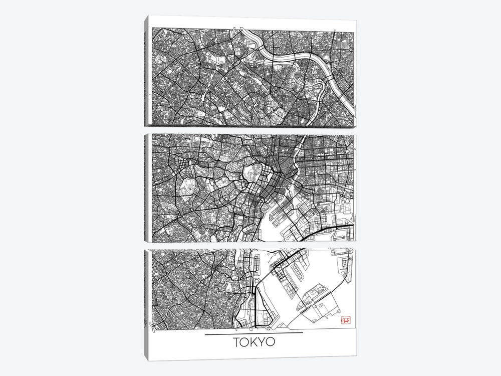Tokyo Minimal Urban Blueprint Map by Hubert Roguski 3-piece Canvas Artwork