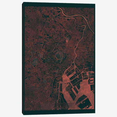 Tokyo Infrared Urban Blueprint Map Canvas Print #HUR378} by Hubert Roguski Canvas Wall Art