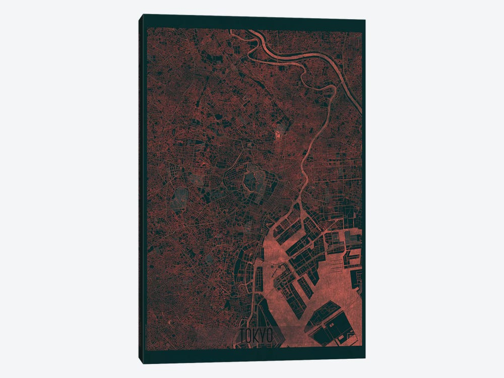 Tokyo Infrared Urban Blueprint Map 1-piece Canvas Print