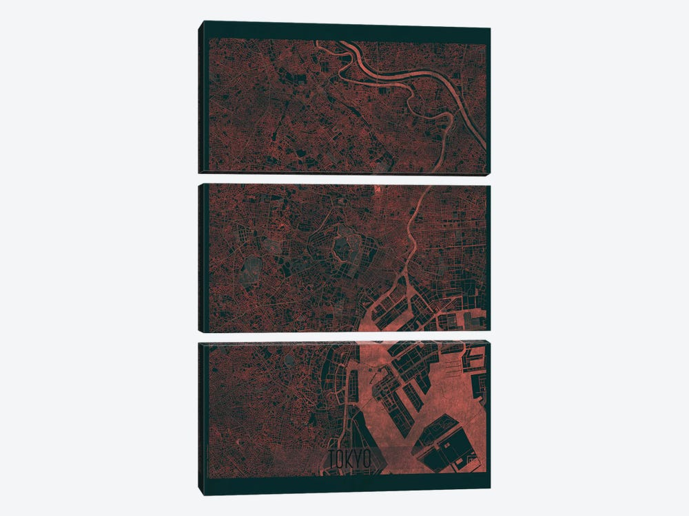 Tokyo Infrared Urban Blueprint Map 3-piece Art Print