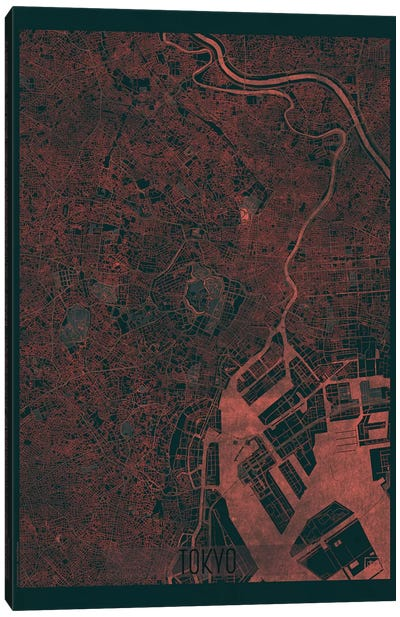 Tokyo Infrared Urban Blueprint Map Canvas Art Print