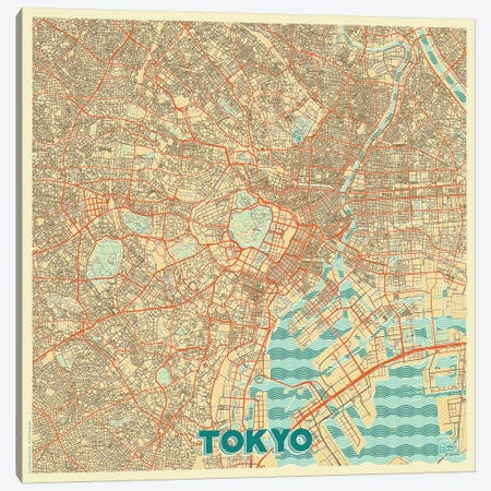 Tokyo Retro Urban Blueprint Map Canvas Print #HUR379} by Hubert Roguski Canvas Wall Art