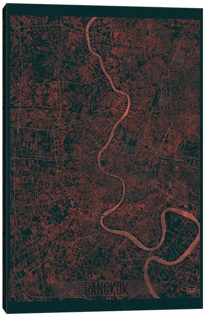Bangkok Infrared Urban Blueprint Map Canvas Art Print