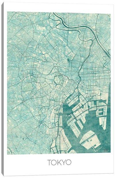 Tokyo Vintage Blue Watercolor Urban Blueprint Map Canvas Art Print