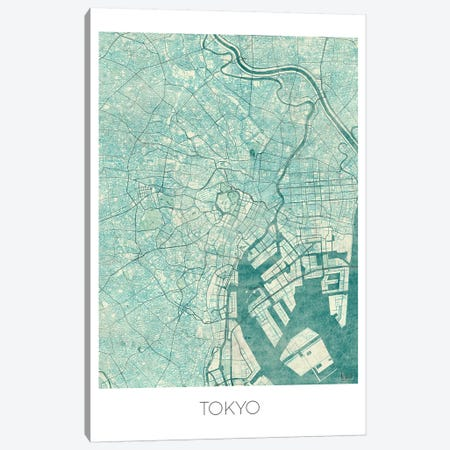 Tokyo Vintage Blue Watercolor Urban Blueprint Map Canvas Print #HUR380} by Hubert Roguski Art Print