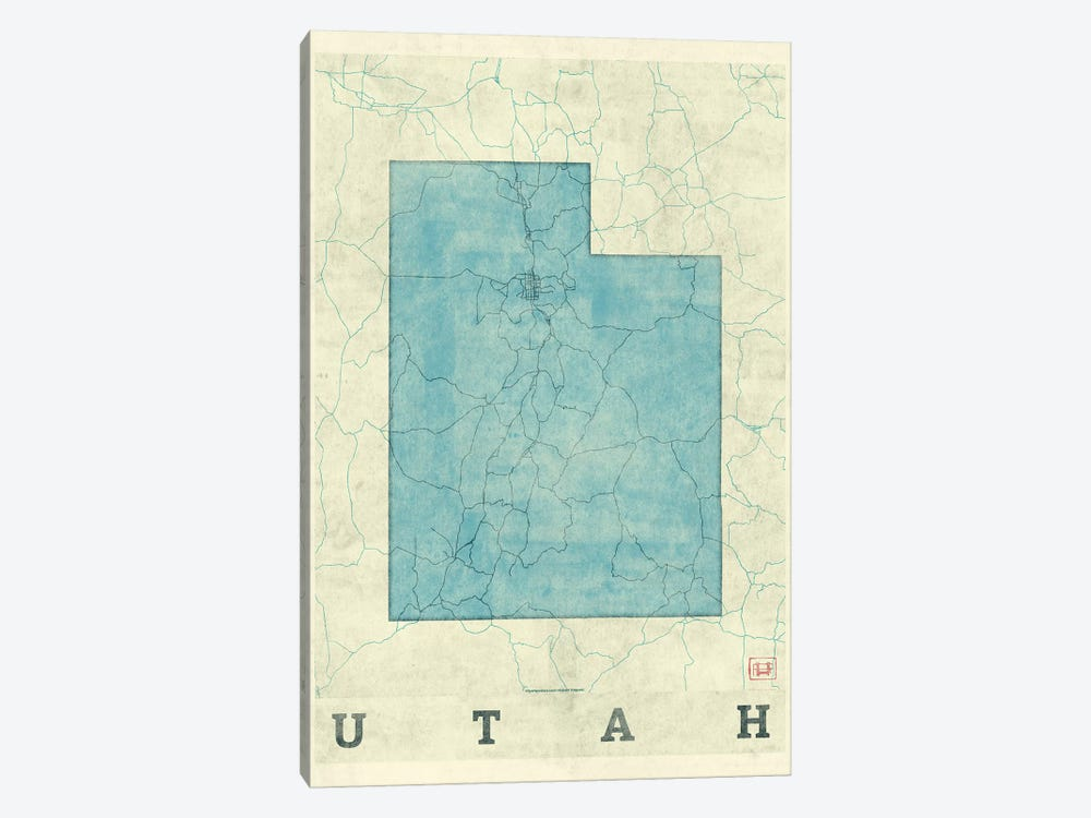 Utah Map by Hubert Roguski 1-piece Art Print