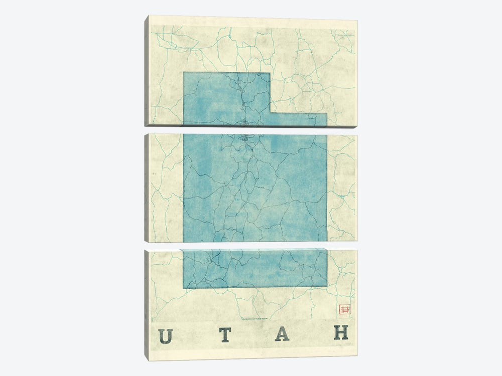 Utah Map by Hubert Roguski 3-piece Canvas Print
