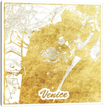 Venice Gold Leaf Urban Blueprint Map Canvas Art Print