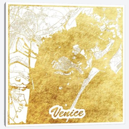 Venice Gold Leaf Urban Blueprint Map Canvas Print #HUR382} by Hubert Roguski Canvas Print