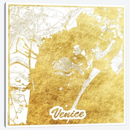 Venice Gold Leaf Urban Blueprint Map 3-Piece Canvas #HUR382} by Hubert Roguski Canvas Print