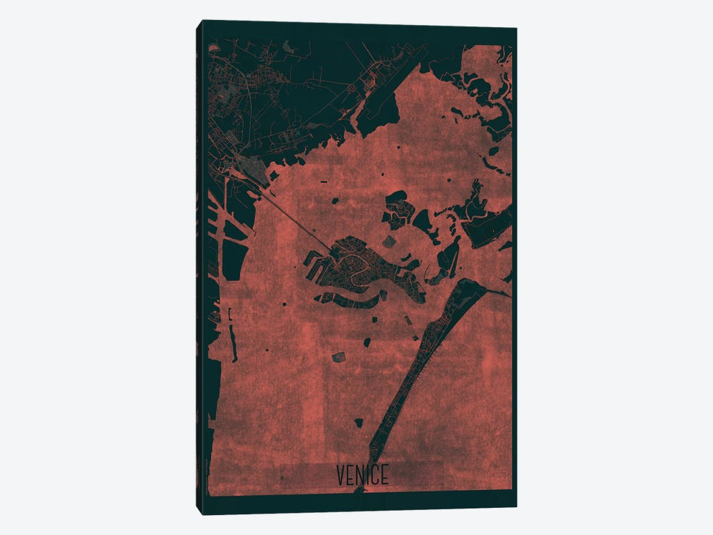 Venice Infrared Urban Blueprint Map by Hubert Roguski 1-piece Canvas Artwork