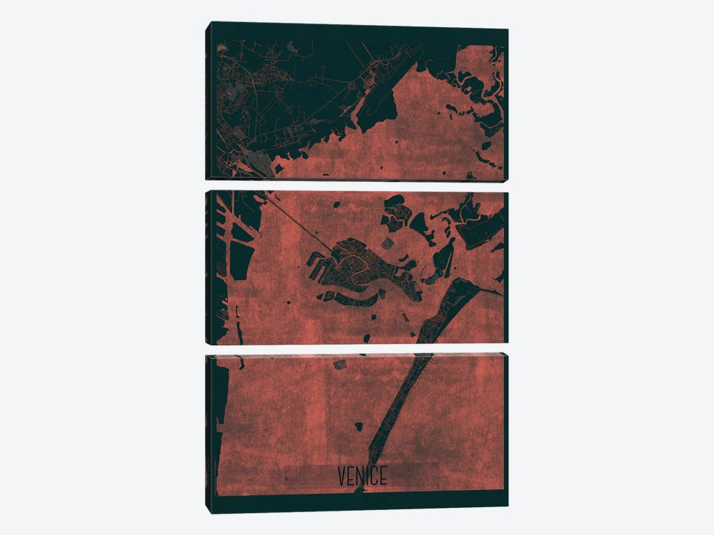 Venice Infrared Urban Blueprint Map by Hubert Roguski 3-piece Canvas Wall Art