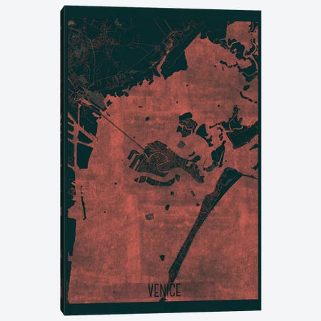 Venice Infrared Urban Blueprint Map Canvas Print #HUR384} by Hubert Roguski Canvas Wall Art