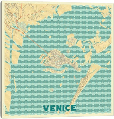 Venice Retro Urban Blueprint Map Canvas Art Print