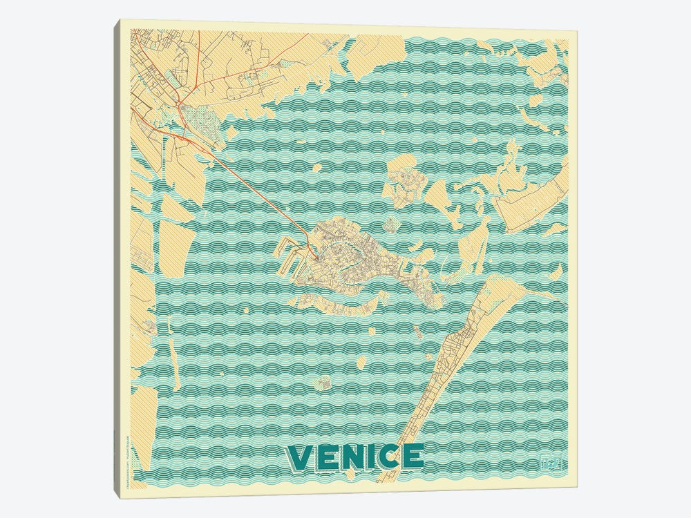 Venice Retro Urban Blueprint Map by Hubert Roguski 1-piece Canvas Print