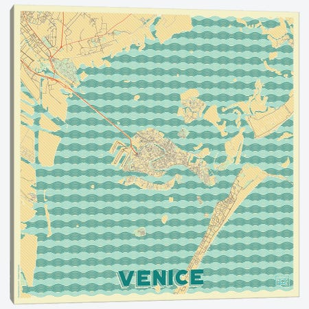 Venice Retro Urban Blueprint Map 3-Piece Canvas #HUR385} by Hubert Roguski Canvas Art