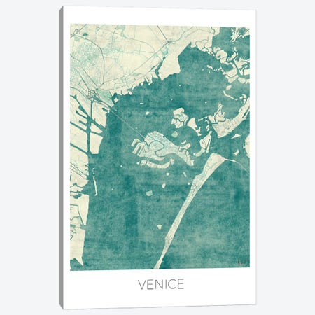 Venice Vintage Blue Watercolor Urban Blueprint Map Canvas Print #HUR386} by Hubert Roguski Canvas Artwork