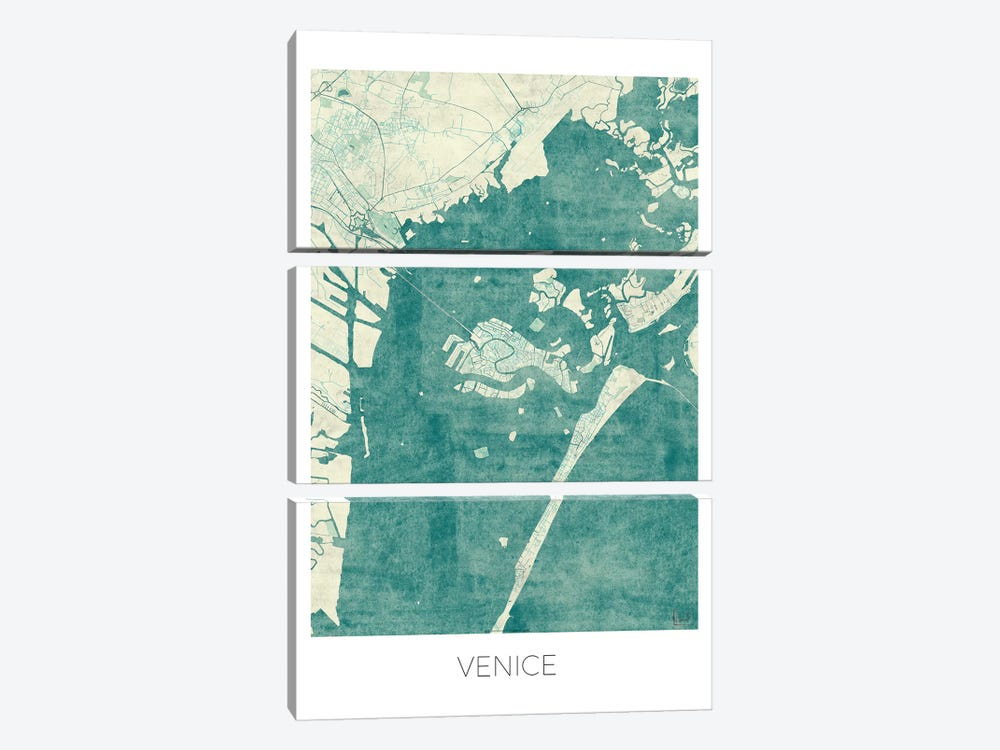 Venice Vintage Blue Watercolor Urban Blueprint Map by Hubert Roguski 3-piece Canvas Wall Art
