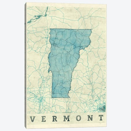 Vermont Map Canvas Print #HUR387} by Hubert Roguski Canvas Wall Art