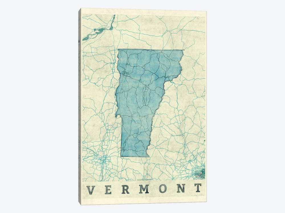 Vermont Map by Hubert Roguski 1-piece Canvas Print