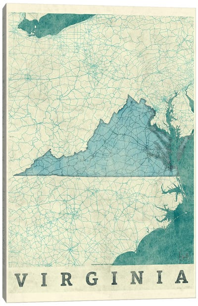 Virginia Map Canvas Art Print