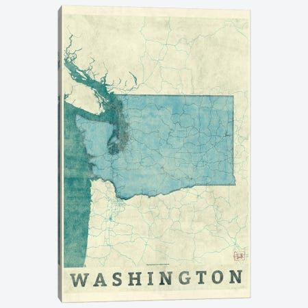 Washington Map Canvas Print #HUR389} by Hubert Roguski Canvas Print