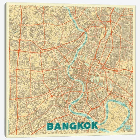 Bangkok Retro Urban Blueprint Map Canvas Print #HUR38} by Hubert Roguski Canvas Art