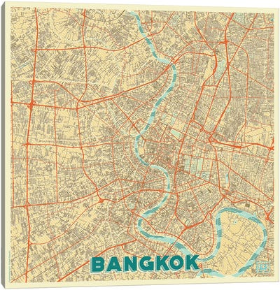 Bangkok Retro Urban Blueprint Map Canvas Art Print
