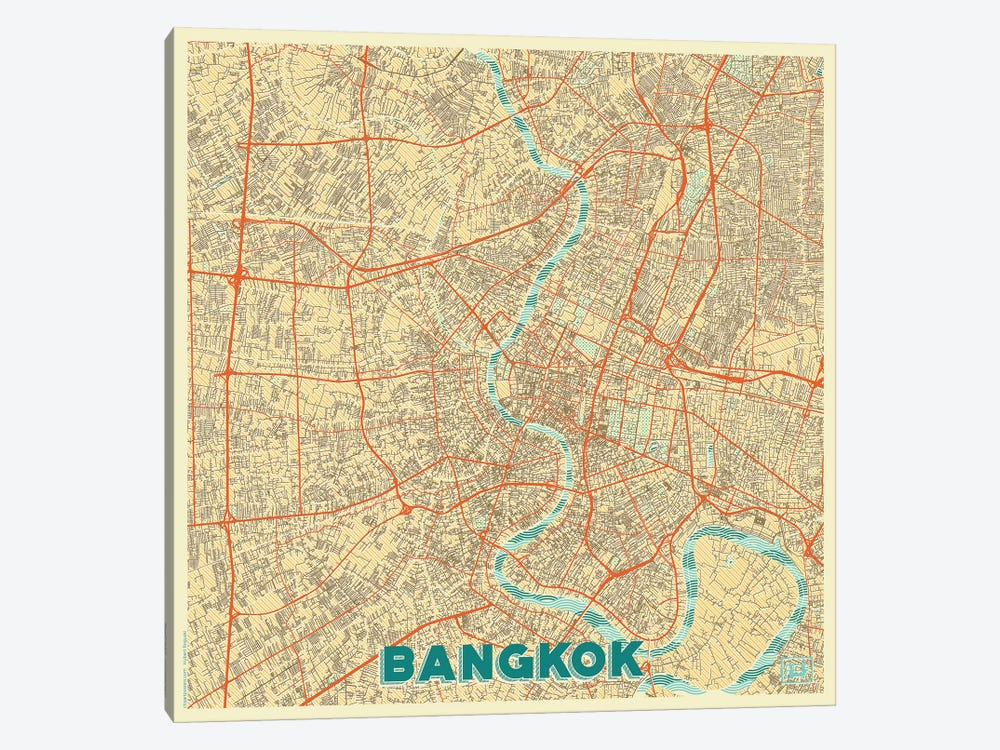 Bangkok Retro Urban Blueprint Map by Hubert Roguski 1-piece Canvas Art Print