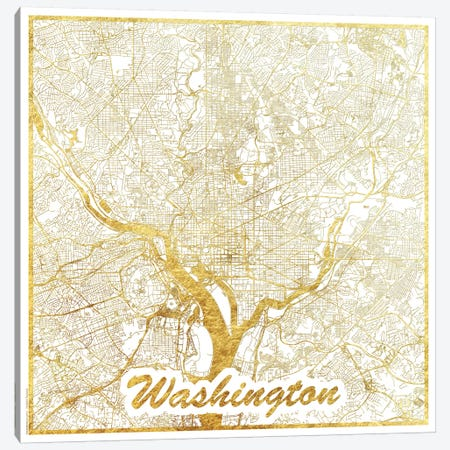 Washington, D.C. Gold Leaf Urban Blueprint Map 3-Piece Canvas #HUR390} by Hubert Roguski Canvas Wall Art