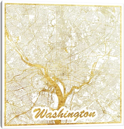 Washington, D.C. Gold Leaf Urban Blueprint Map Canvas Art Print