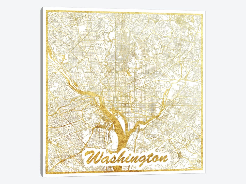 Washington, D.C. Gold Leaf Urban Blueprint Map by Hubert Roguski 1-piece Canvas Print