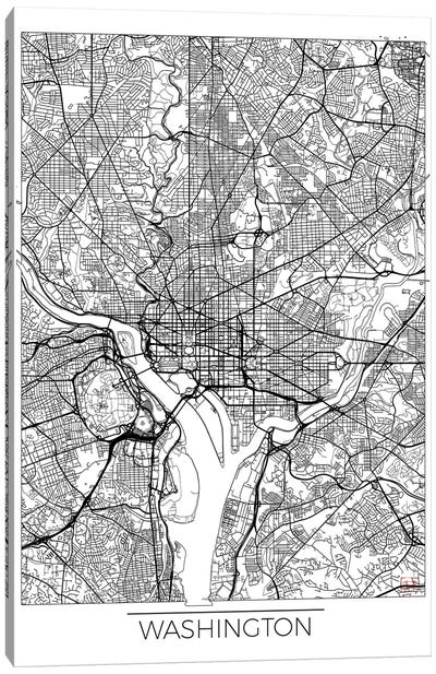 Washington, D.C. Minimal Urban Blueprint Map Canvas Art Print