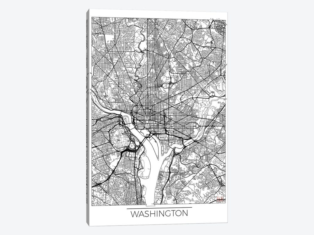Washington, D.C. Minimal Urban Blueprint Map 1-piece Canvas Artwork