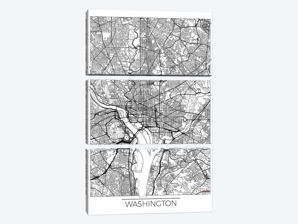 Washington, D.C. Minimal Urban Blueprint Map by Hubert Roguski 3-piece Canvas Artwork