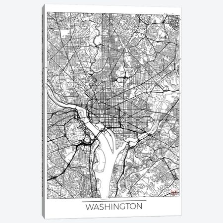 Washington, D.C. Minimal Urban Blueprint Map 3-Piece Canvas #HUR391} by Hubert Roguski Canvas Art