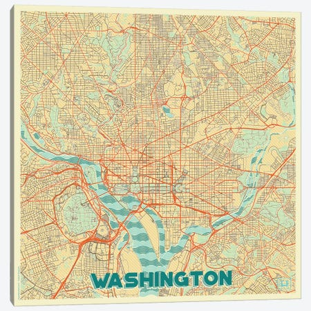 Washington, D.C. Retro Urban Blueprint Map Canvas Print #HUR392} by Hubert Roguski Canvas Art
