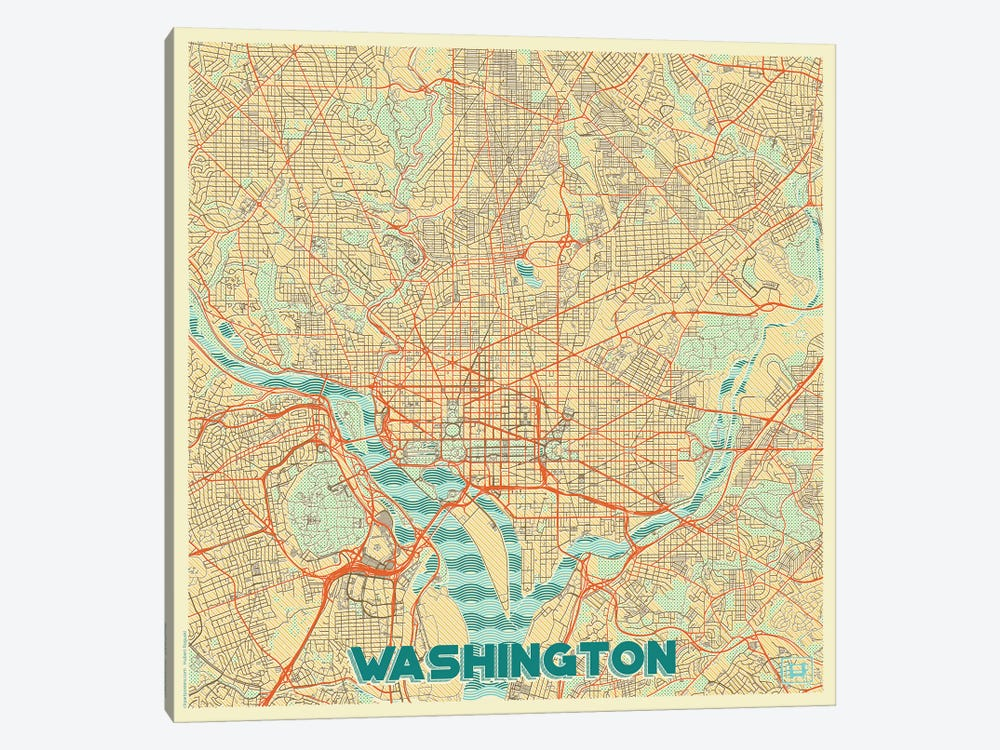 Washington, D.C. Retro Urban Blueprint Map by Hubert Roguski 1-piece Canvas Print