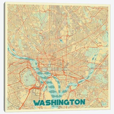 Washington, D.C. Retro Urban Blueprint Map 3-Piece Canvas #HUR392} by Hubert Roguski Canvas Art