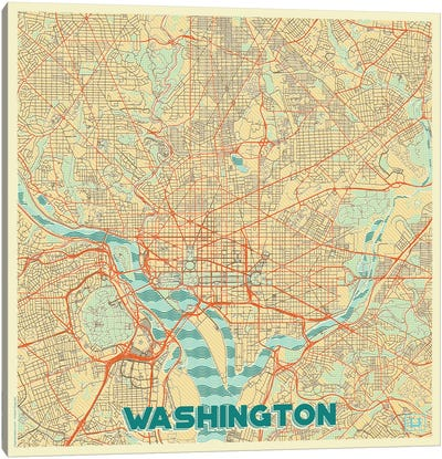 Washington, D.C. Retro Urban Blueprint Map Canvas Art Print