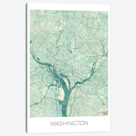 Washington, D.C. Vintage Blue Watercolor Urban Blueprint Map Canvas Print #HUR393} by Hubert Roguski Canvas Artwork