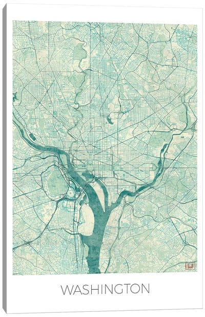 Washington, D.C. Vintage Blue Watercolor Urban Blueprint Map Canvas Art Print