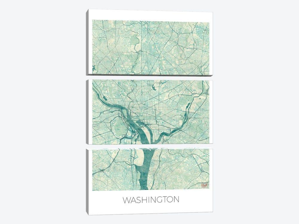 Washington, D.C. Vintage Blue Watercolor Urban Blueprint Map by Hubert Roguski 3-piece Canvas Artwork
