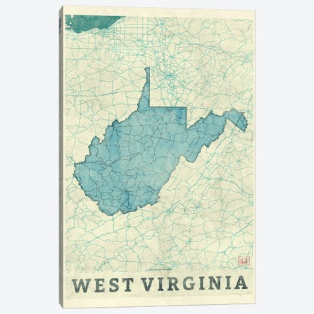 West Virginia Map Canvas Print #HUR394} by Hubert Roguski Canvas Art Print