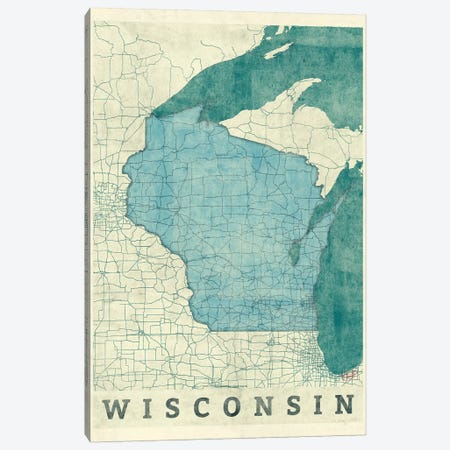 Wisconsin Map 3-Piece Canvas #HUR395} by Hubert Roguski Canvas Art Print