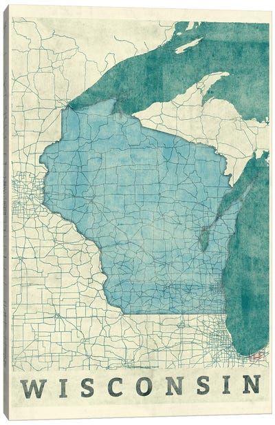 Wisconsin Map Canvas Art Print