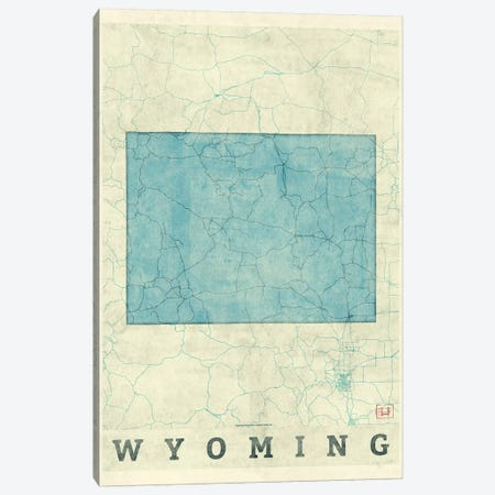 Wyoming Map Canvas Print #HUR396} by Hubert Roguski Canvas Art Print