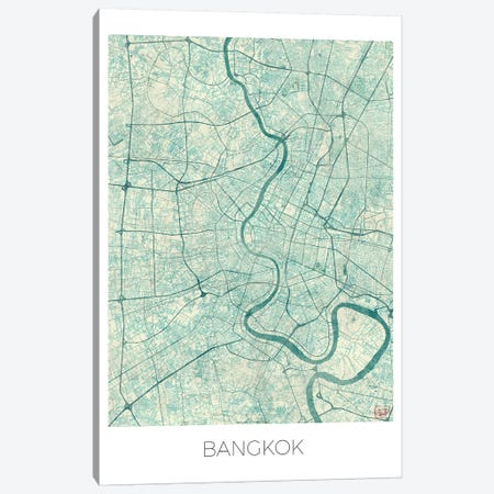 Bangkok Vintage Blue Watercolor Urban Blueprint Map Canvas Print #HUR39} by Hubert Roguski Canvas Art