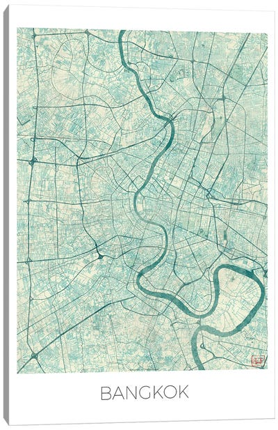 Bangkok Vintage Blue Watercolor Urban Blueprint Map Canvas Art Print