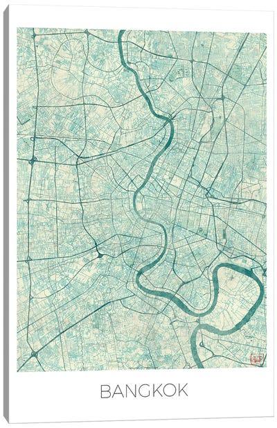 Bangkok Vintage Blue Watercolor Urban Blueprint Map Canvas Art Print